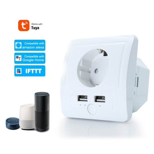 Smart WiFi Wall Outlet EU Plug Dual USB Ports Power Socket Compatible With Alexa Google Home Voice Control