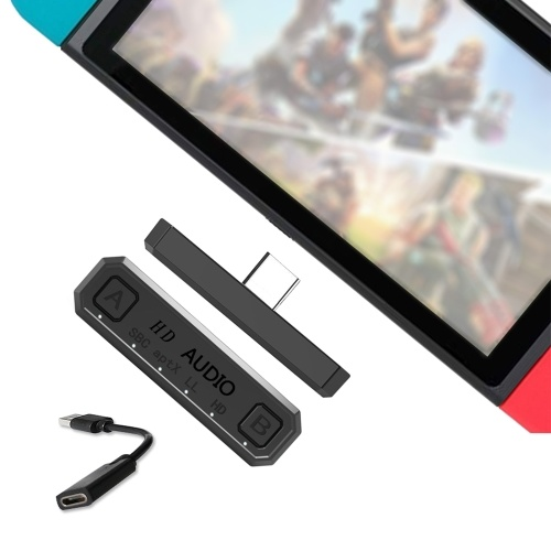 Adaptador BT Transmissor USB TYPE-C de áudio compatível com PS4 PC NES Lite Suporte Adaptadores de áudio BT para jogos portáteis Dual Stream