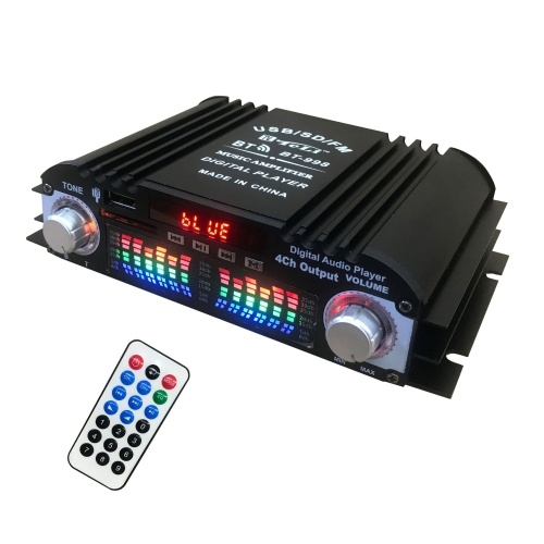 BT-998 USB Mini Digital Display Power Amplifier 4-CH Audio Player with FM Function Multifunctional Car BT Power Amplifier