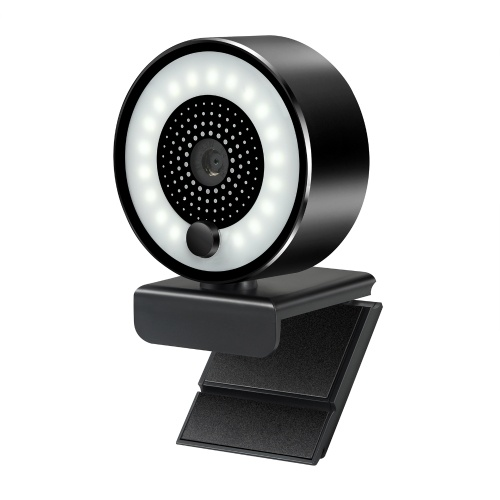HD 2K USB Webcam Auto-focus 5MP PC Web Camera 1080P with Ring Fill Light Microphone for PC Laptop Video Conference Camera