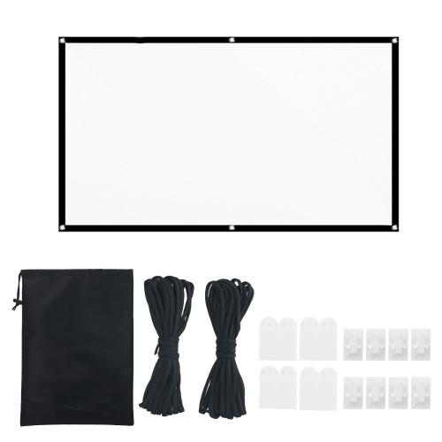 100-дюймовый портативный проектор HD Проекционный экран 16: 9 Складной прочный белый настенный экран с веревкой для переноски для домашнего кинотеатра на открытом воздухе