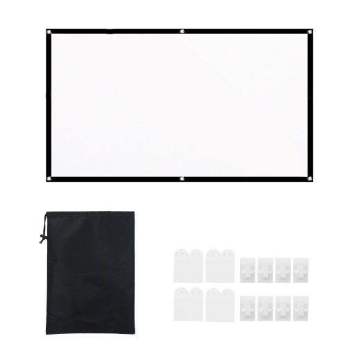 100 pouces 16: 9 écran de projection écran de projecteur HD portable écran mural blanc épais pliable avec sac de transport pour cinéma maison en plein air