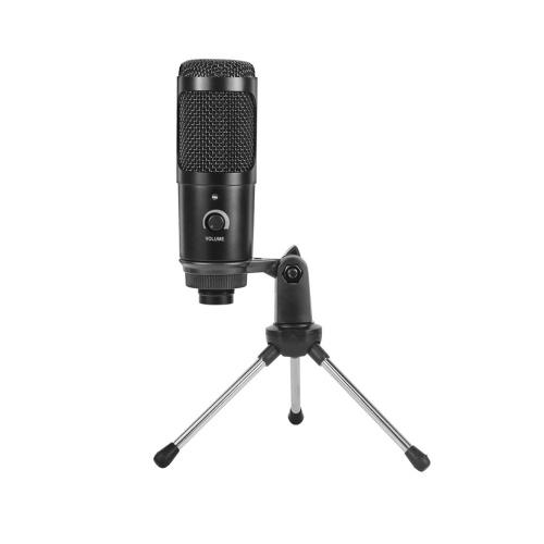 Microfone de gravação de condensador de metal USB para laptop, estúdio cardioide, gravação de karaokê e microfone de computador com tripé