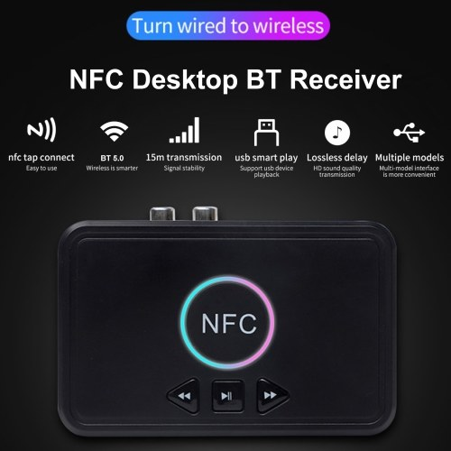 NFC Bluetooth 5.0 Receiver Wireless Audio Receiver Adapter with Microphone RCA AUX Out U Disk Music Playback for Headphones Speaker Home Audio System