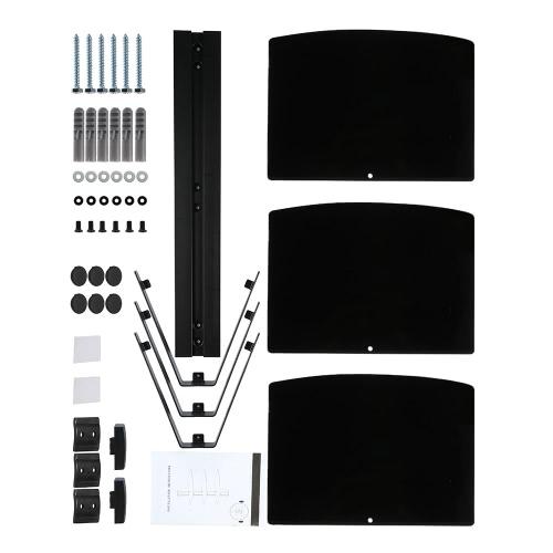Черный 3 яруса плавающие полки с усиленной закаленного стекла для DVD игроков/кабельные коробки/игры консолей/TV аксессуары