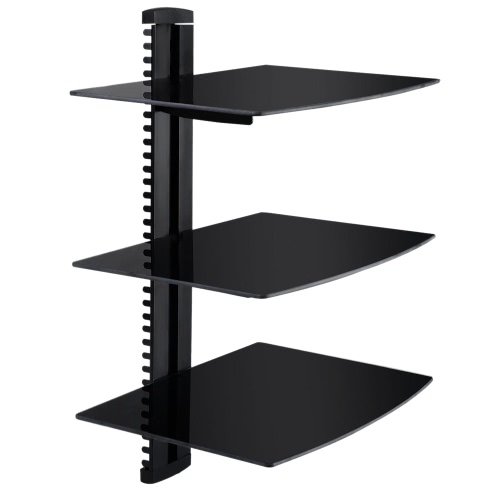 3 Tiers Black Floating Shelves with Strengthened Tempered Glass for DVD Players/Cable Boxes/Games Consoles/TV Accessories
