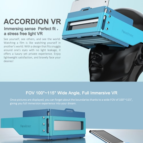 Focalmax Accordion Virtual Reality Glasses 3D VR Box Light Food-grade Silicone Brand Headset Glasses 3D Movies Games Fresnel Lens