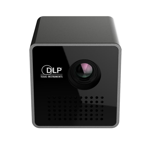 Ultramini DLP Projector Portable 1080P HD Beamer Throw 70-inch Screen 64G TF Card Support 1000mAh Rechargeable 3.5mm Audio port for Home Outdoor Use