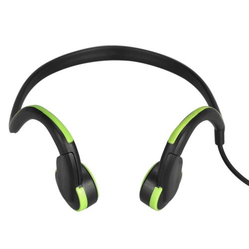 Headset de condução óssea Fone de ouvido com fio Auscultadores de esportes ao ar livre Redução de ruído Mãos-livres com microfone Preto com verde para telefones inteligentes Tablet PC Notebook