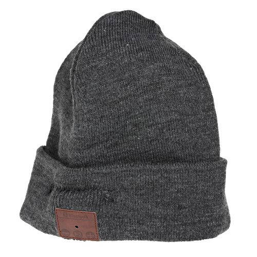 Wireless BT Beanie Stereo Headphone Detachable Winter Hat Grey
