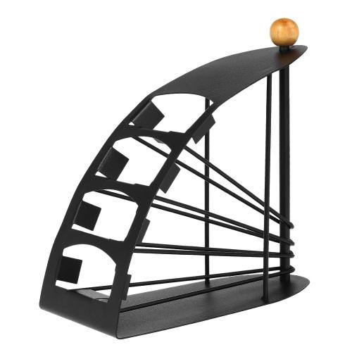 Metal Remote Controller Storage Shelf Creative Yacht Shaped Europe Style Remote Organizer 4 сотовых телевизора, связанных с пультом дистанционного управления держателем черного цвета