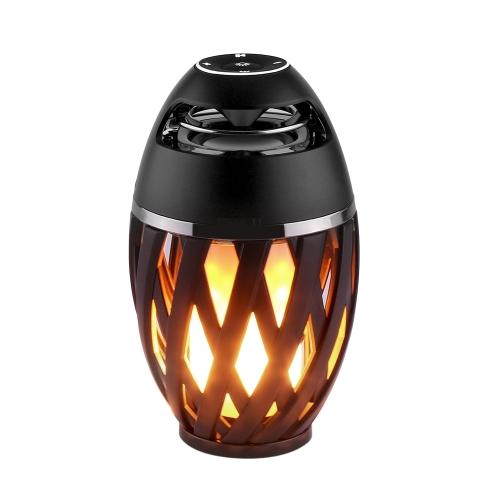 Élégant Lampe Flamme Sans Fil Portable BT Haut-Parleur Torche Atmosphère Lumière USB De Charge Stéréo Sounbar