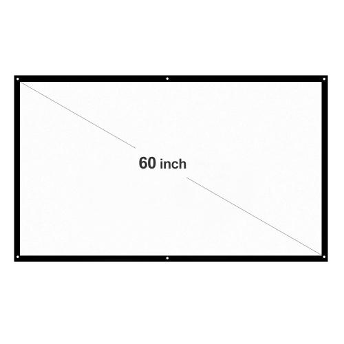"h60 60"" portable projector screen hd 16:9 white 60 inch diagonal projection screen foldable home theater for wall projection indoors outdoors"