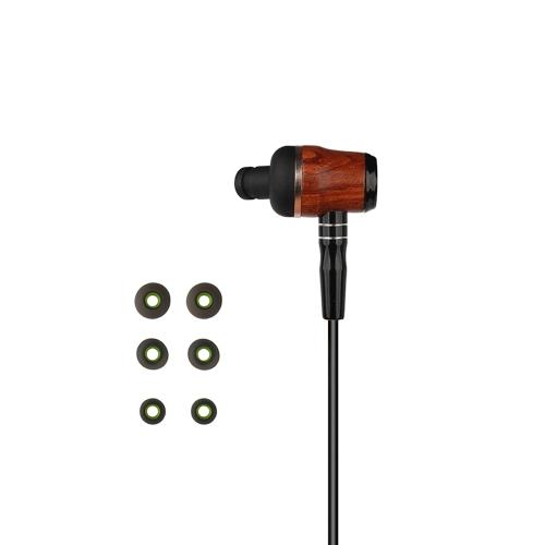 zermie 3.5mm في الأذن سماعات الأذن الخشب الكمثرى