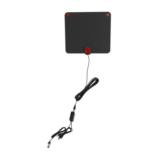 Indoor 6mm Ultra Fino 80 Mile Faixa Dupla Antena de TV Digital Amplificada com Amplificador de Sinal Destacável CJH-158A