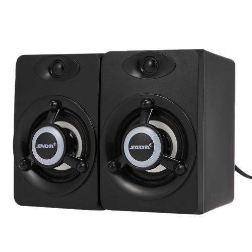 SADA V-118 USB Wired Speaker LED Computer Speaker Bass Stereo Music Player Subwoofer Sound Box for Desktop Laptop Notebook Tablet PC Smart Phone