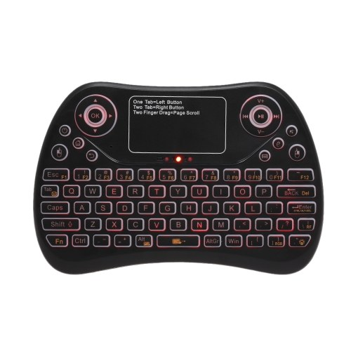 TOMTOP / 2.4GHz Mini Wireless Keyboard Touch Pad Mouse Combo RGB QWERTY Backlit Keyboard with Rechargeable Battery for Android TV Box Projector PC Laptop Wireless Smart Remote Controller