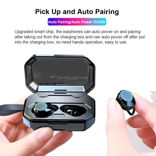 X6 BT V5.0 Stereo Earphone TWS-Wireless Headsets Mini In-Ear HIFI Sound Music Sports Earphones IPX6 Waterproof with Rechargeable 3000mAh Charging Box