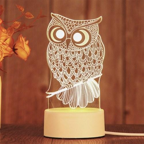 New 3D Lamp Table Night Light Multicolor Cartoon Toy Owl