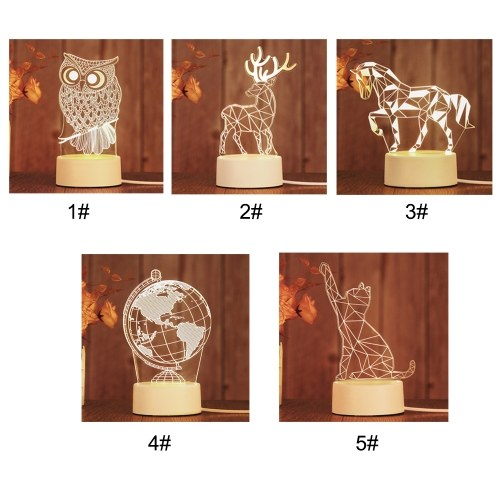 New 3D Lamp Table Night Light Multicolor Cartoon Toy Owl