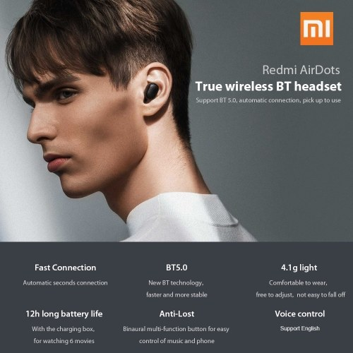 Redmi AirDots TWS Bluetooth 5.0 Headphone Wireless-Earphone Headset Global Black