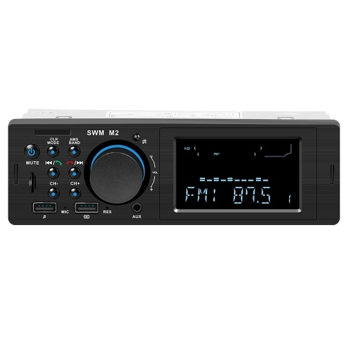 SWM M2 Bluetooth Car Stereo Car Audio FM Radio 60W Output MP3 Player Support USB TF Card Slot 3.5mm AUX Hands-free Call with Mic Wireless Remote Contr