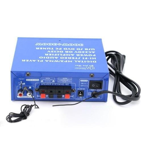 12ボルト/ 220ボルトミニオーディオパワーアンプbtデジタルオーディオレシーバーアンプusb sdスロットmp3プレーヤーfmラジオ液晶ディスプレイ付きリモコンデュアルチャンネル300ワット+ 300ワットカーホーム用