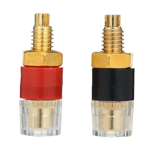 1Pair Speaker Audio Amplifier Transparent Terminal Black & Red Binding Post Gold plated Terminals for 4mm Banana Plug Jack