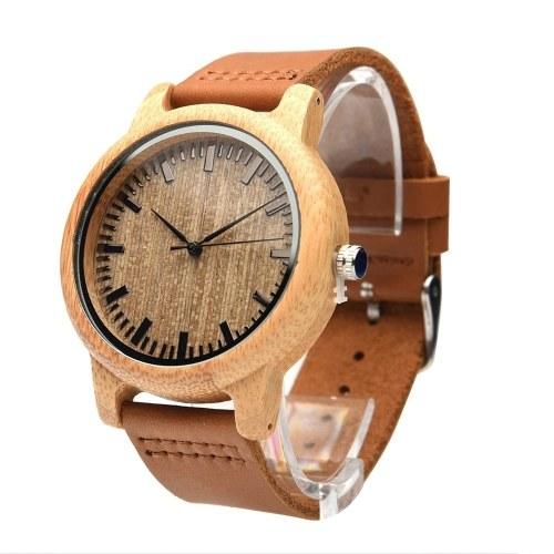 Женские часы Аналоговые часы из натурального бамбукового дерева ручной работы Мужские модные кварцевые часы в минималистском стиле