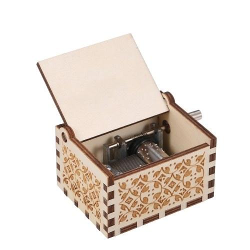 Holz Spieluhr Mini Vintage graviert handbetriebene Spieluhr Geburtstag Weihnachten Valentinstag exquisites Geschenk