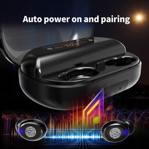 IPX7 Waterproof TWS Headphones Bluetooth 5.0 Ture Wireless Earphone Touch Control CVC8.0 Intelligent Noise Reduction Power Display Wireless Headset 2400mAh Charging Bin