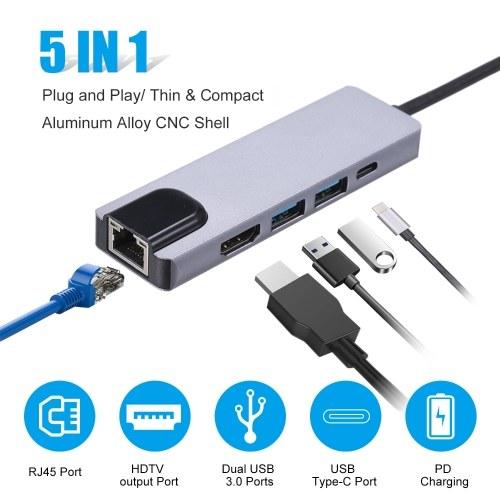 5 в 1 USB-концентраторы Адаптер Type-C PD Порт USB для зарядки Dual USB 3.0 RJ45 HDTV выходные порты Совместимость с Samsung Huawei MacBook