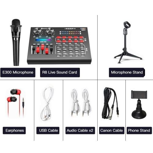 Tarjeta de sonido en vivo R8 + auriculares + micrófono + soporte para teléfono + soporte para trípode de micrófono