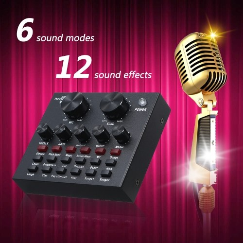 Live Sound Card Microphone Set Voice Changer Multifunctional USB Audio Interface Intelligent Volume Mic External Sound Card for Live Broadcast