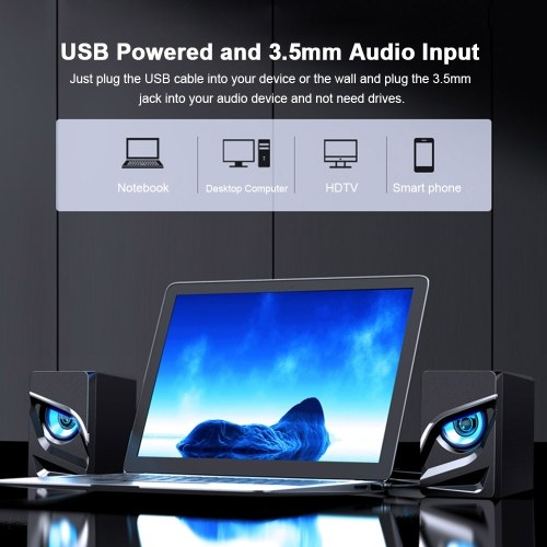 V128 Mini USB 2.1 Stereo Sound Speaker Desktop Computer Subwoofer Home Low Frequency Amplifier for Phone Notebook