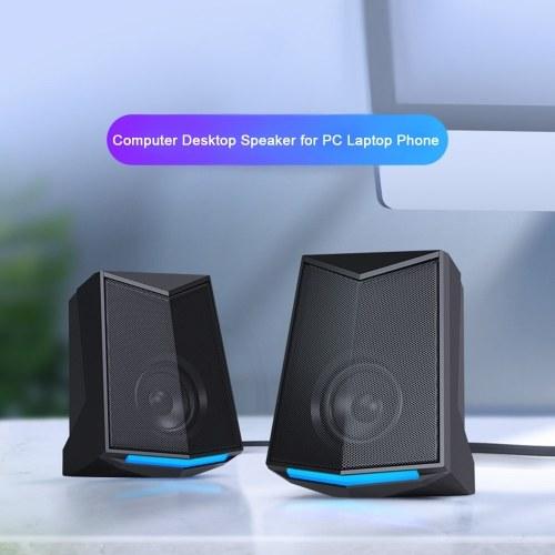 V-115 Computer Desktop Speaker Audio 2.0 Sound Channel Stereo Sound 3W Output Power USB Mini Portable Subwoofer for PC Laptop Phone