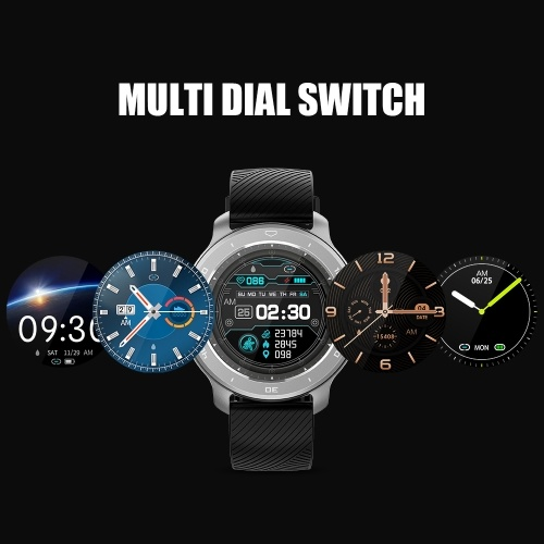 RC02 Intelligent Watch 1.3in Color Screen Circle Dial Sport Fitness Tracker IP68 Waterproof Blood Pressure Heart Rate Monitoring Watch