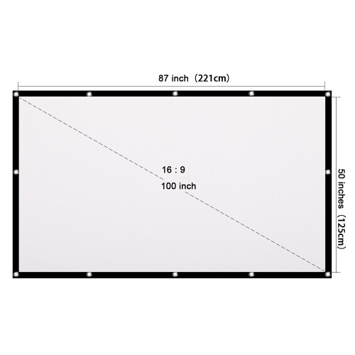 Portable HD Projector Screen 100 inch 16:9 Folded Thick Durable Projection Screen for Outdoor Home Theater