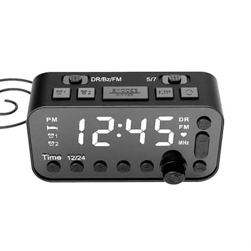DAB & FM Radio Digital Alarm Clock LCD Backlight Dual USB Port Sleep Timer for Office Bedroom Travel