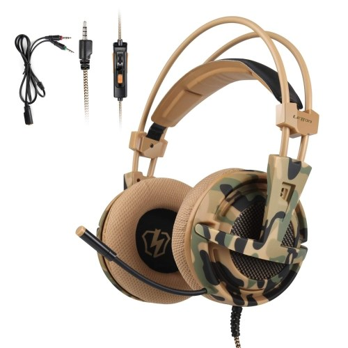 LETTON L1 3.5mm Gaming Headset Stereo Over-Ear Headphones with Adjustable Microphone for PC Laptop Smart Phone
