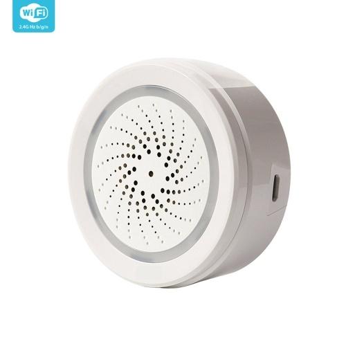 Tuya Wifi Intelligent Sirene Sound Alarm Temperatur Feuchtigkeitssensor APP-Steuerung Drahtloses sicheres System WiFi USB-Sprachsteuerung