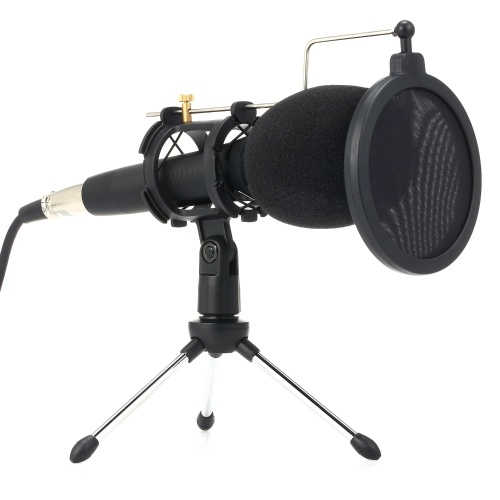 Professional Condenser Microphone with Stand 3.5mm for Computer Phone PC Microphone Mic for Sing Recording Live Broadcast