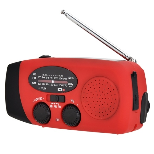 Rádio portátil com AM / FM Lanterna Lâmpada de Leitura NOAA Weather Power Bank para Emergência Movido a Energia Solar Manivela Rádio Portátil