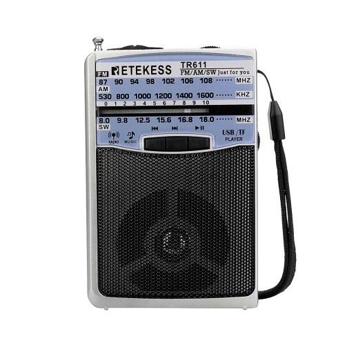 Retekess TR611 Radio portatile FM AM SW 3Band con jack per auricolari USB TF Player Supporto formato MP3