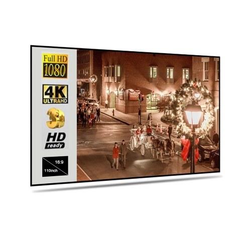 Tragbare faltbare Projektionswand Metallschicht Lichtbeständig Home Movie Reflective Screen (110 Zoll 16: 9)
