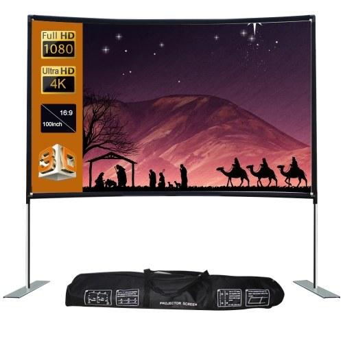 16: 9 Проекционный экран домашнего кинотеатра с портативным кинотеатром (100 дюймов)