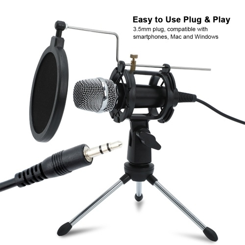 Mini Condenser Microphone PC Microphone 3.5mm Plug and Play Home Studio Podcast Vocal Recording Microphones with Mini MIC Stand Dual-layer Acousticfilter for Phone Laptop PC Tablet, TOMTOP  - buy with discount