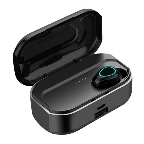 G20 TWS BT5.0 Drahtlose Kopfhörer Auto Pairing Rauschunterdrückung Touch Control IP54 Wasserdichtes 3500-mAh-Ladekasten-Leistungsdisplay (schwarz, einzelnes Ohr)