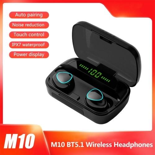 M10 BT5.1 Fones de ouvido sem fio emparelhamento automático Redução de ruído Touch Control IPX7 à prova d'água 2000mAh caixa de carga Power Display Power Bank (versão padrão, preto)