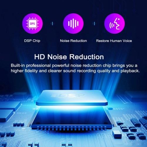K2 Ultra-thin Voice Recorder Portable MP3 Player 16GB Voice Activated Recorder Mini Digital Sound Audio Recorder Professional Dictaphone Black